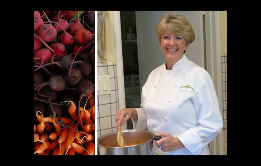 Chef Gisele Barber cooking a healthy meal of root vegetable soup