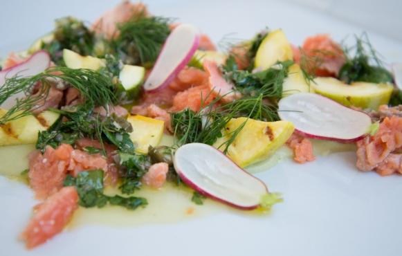 31st Union's Smoked King Salmon, Brentwood Corn Puree, Summer Squash, Salsa Verde