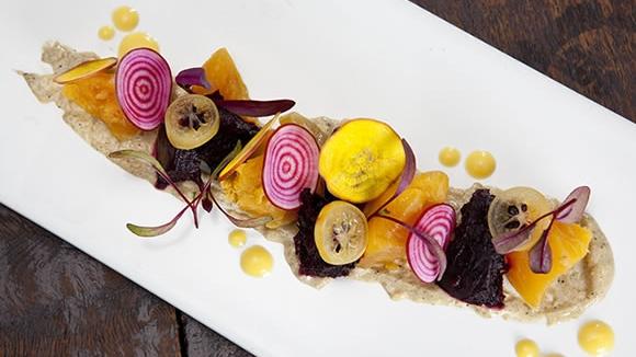 Patzaria Salata—Beet Salad with Green Garlic Skordalia