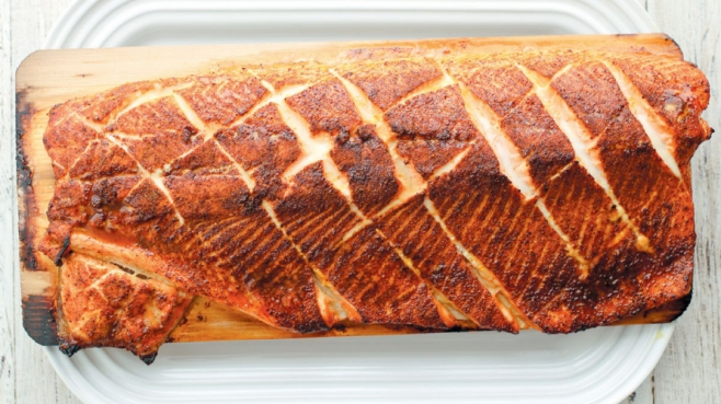 Salmon wood-fired and grilled on cedar plank