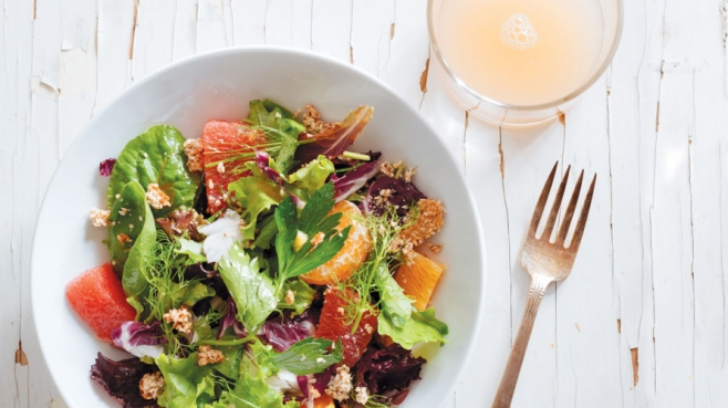 Winter Salad with Spiced Sesame Clusters
