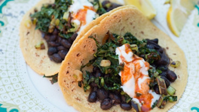 kale tacos with black beans
