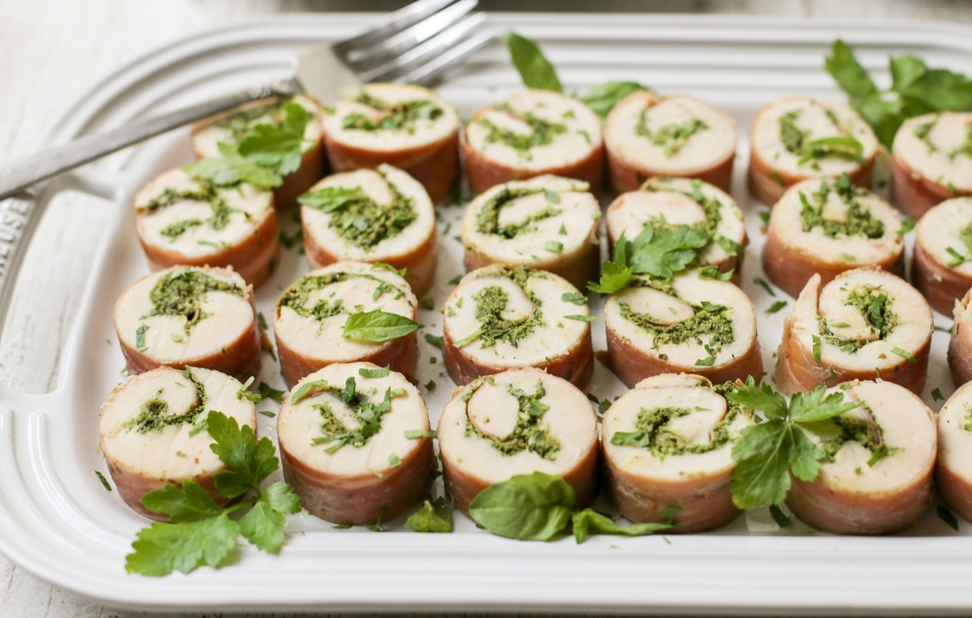 Sous Vide Chicken Roulades With Pesto And Prosciutto Edible